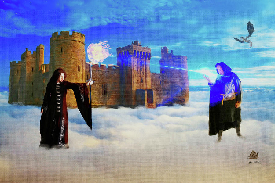 Sword And Sorcery Style Magickal Battle. Digital Art