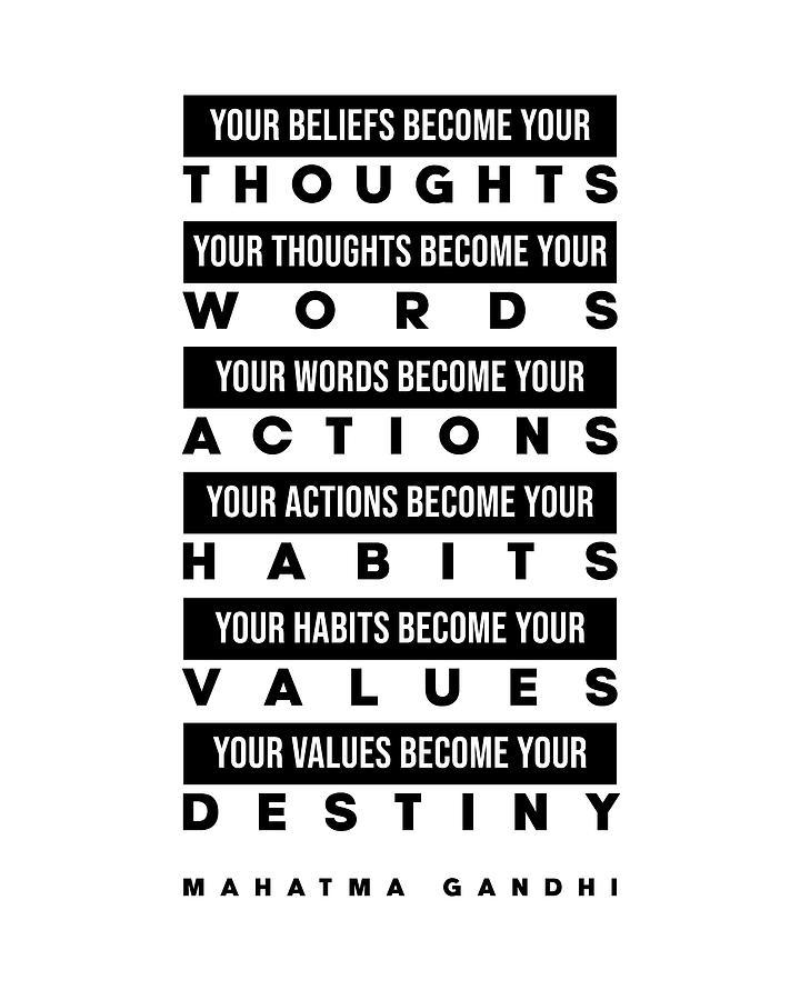 Mahatma Gandhi Digital Art - Mahatma Gandhi Quote - Your Beliefs become your thoughts 2 - Minimal, Typography Print - Inspiring by Studio Grafiikka