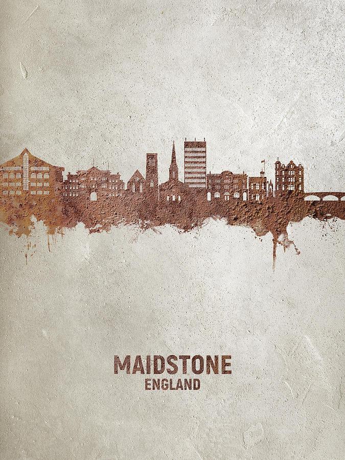 Maidstone Digital Art - Maidstone England Skyline #73 by Michael Tompsett