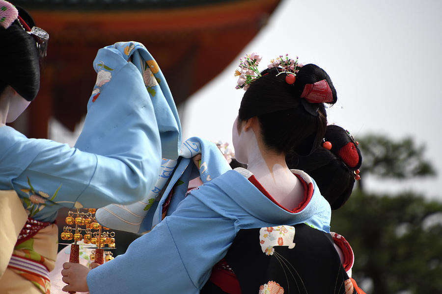 Maiko dance Heian shrine Kyoto Japan by Loren Dowding
