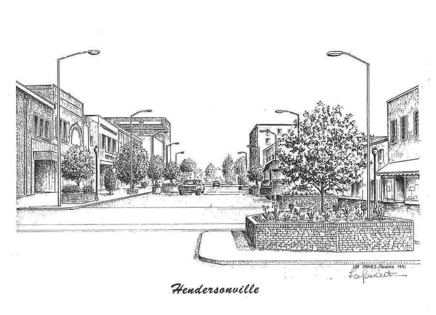 Main Street Hendersonville NC Drawing by Lee Pantas
