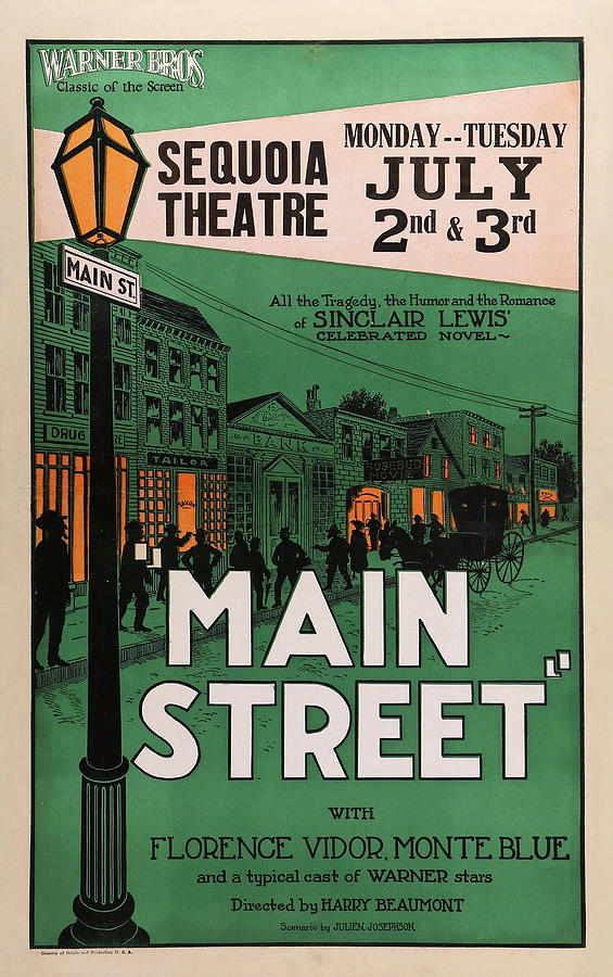 main Street Movie Poster 1923 Mixed Media