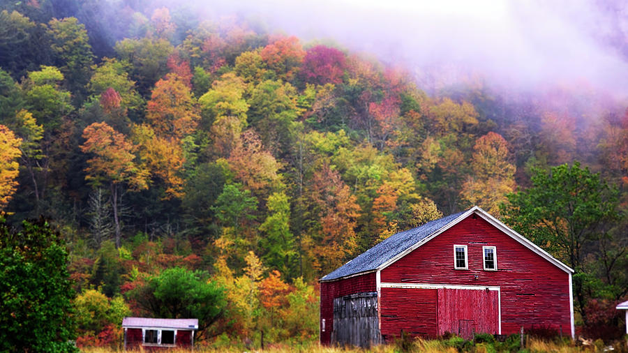 Maine Red Barn in Fall Colors by Jeff Folger