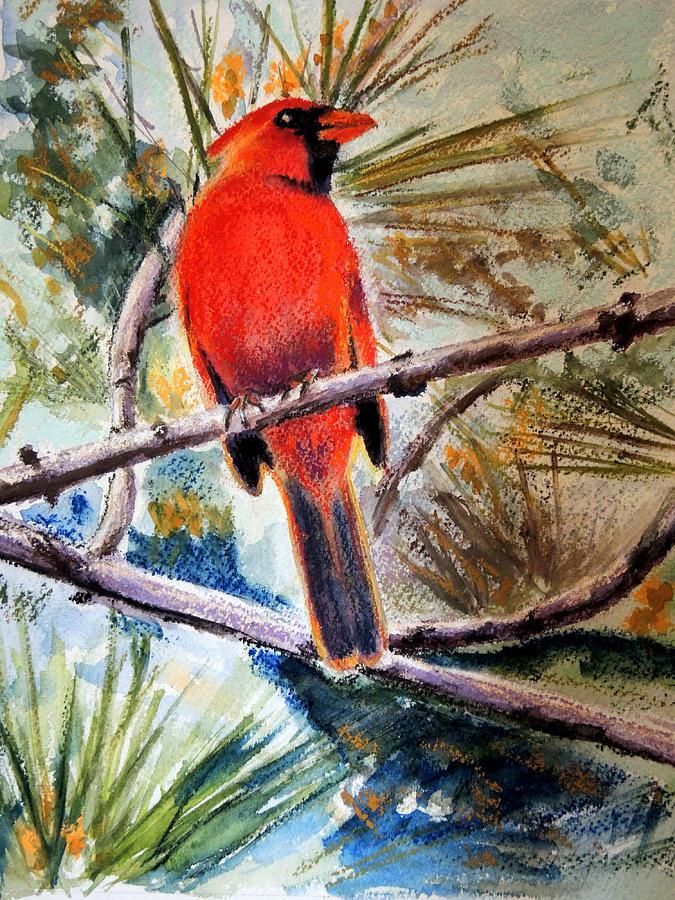 Cardinal Mixed Media - Majestic Cardinal by Chrissey Dittus