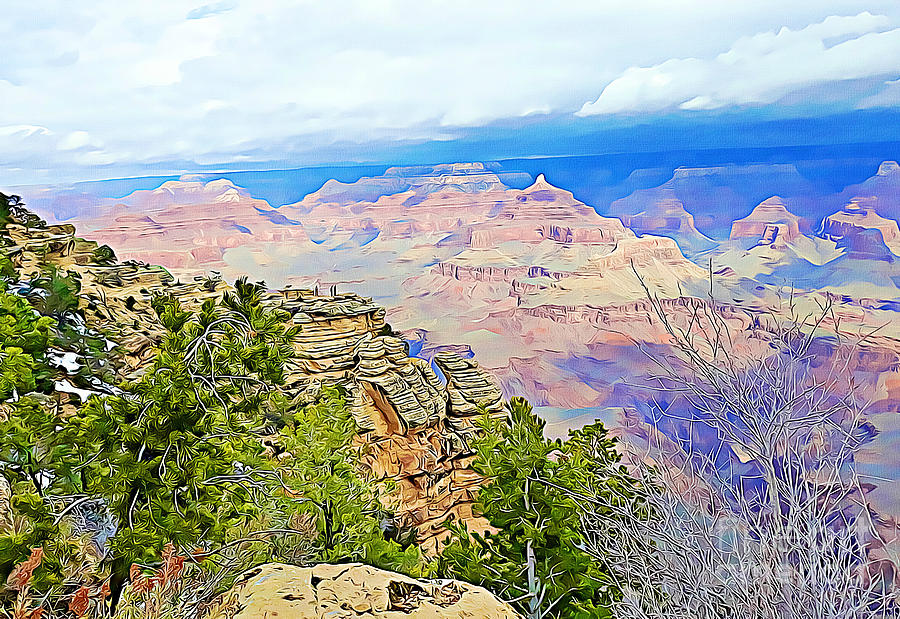 Grand Canyon Mixed Media - Majestic Grand Canyon by Tracy Ruckman