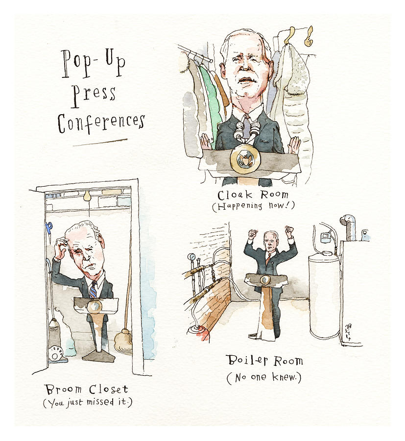 Making Press Conferences Interesting Again Painting by Barry Blitt