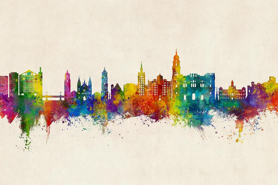 Skyline Digital Art - Malaga Spain Skyline by Michael Tompsett