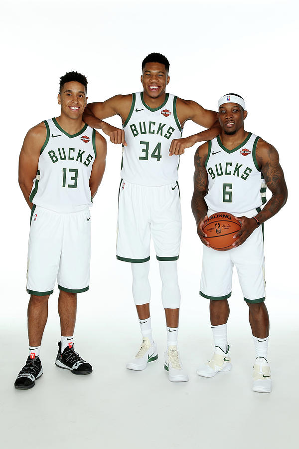 Malcolm Brogdon, Giannis Antetokounmpo, and Eric Bledsoe Photograph by Gary Dineen