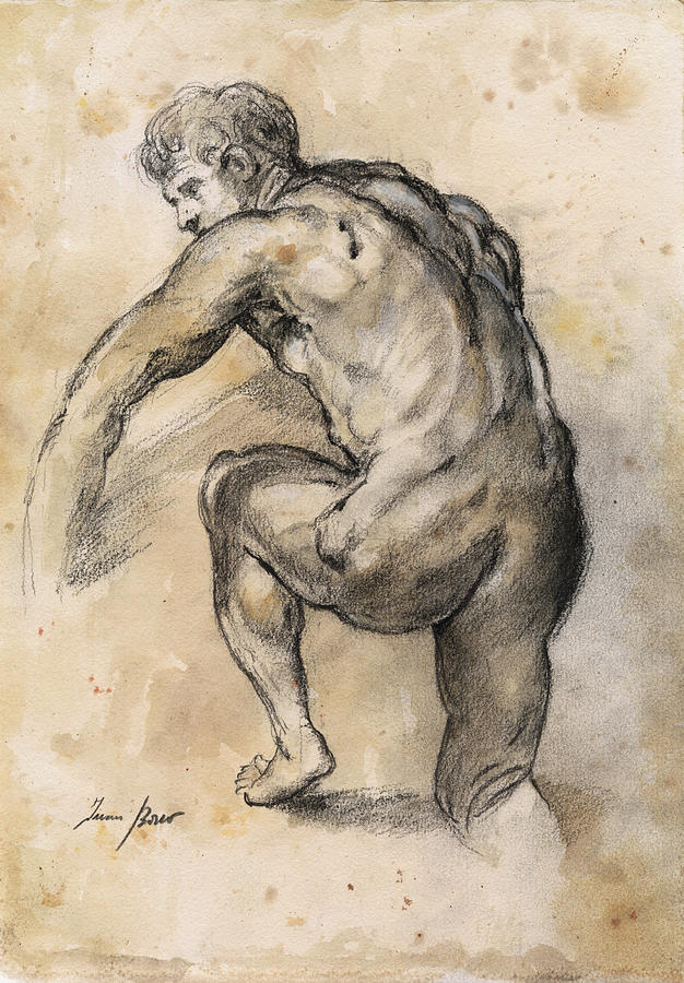 Classical Nude Painting - Male nude drawing by Juan Bosco
