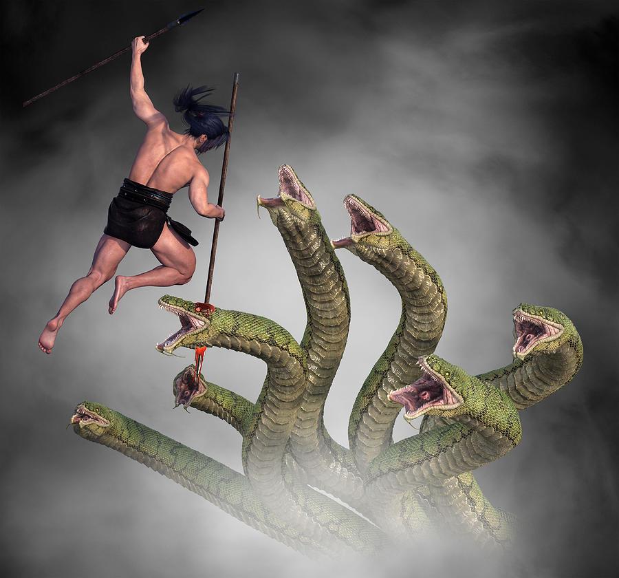 Male Warrior Against Hydra Fantasy 2 Digital Art