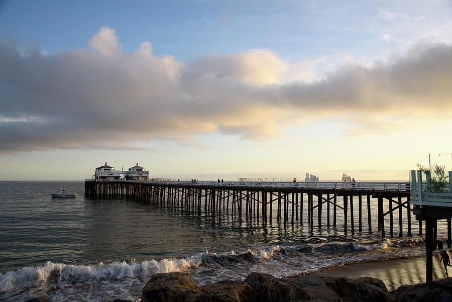 Malibu Pier In Golden Afternoon Sunlight Photograph