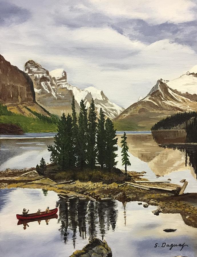 Maligne Lake Reflections Painting