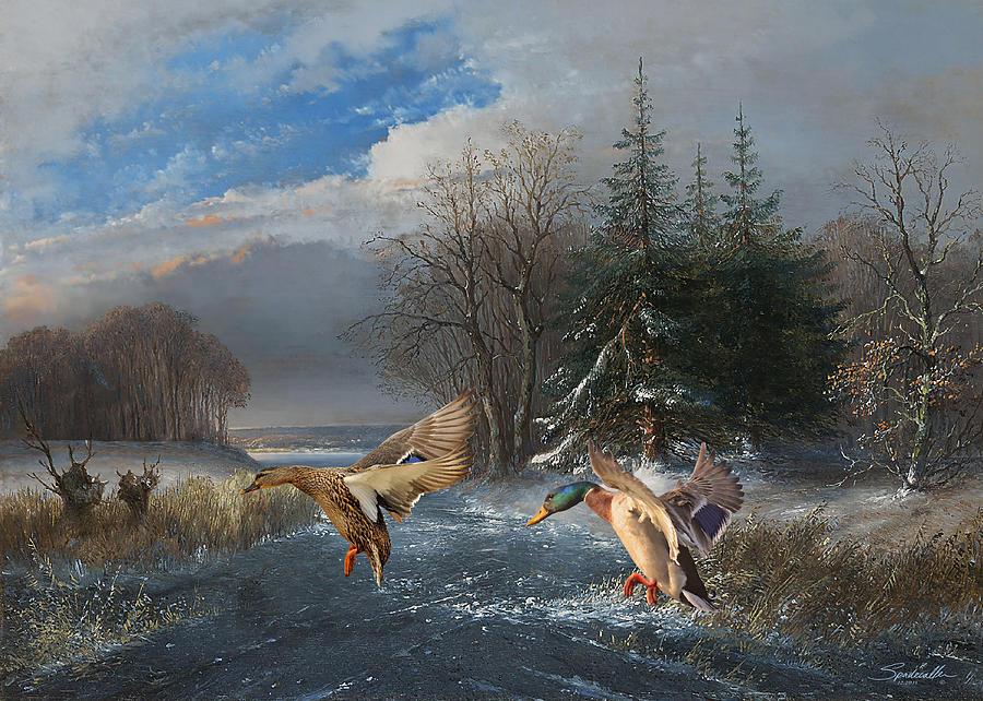Mallards in the Winter by Spadecaller