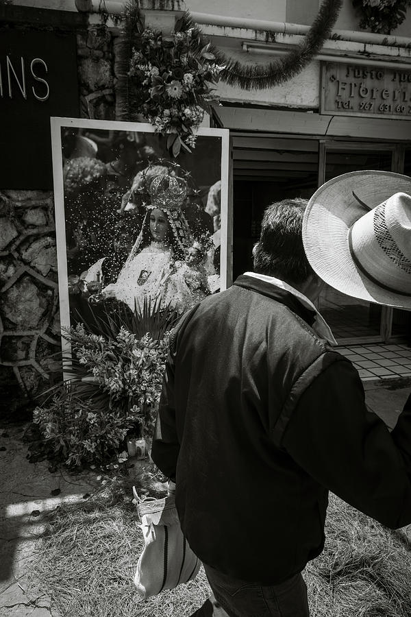 Mexico Photograph - Man Lifts His Hat to Our Lady of Mercy by Dane Strom