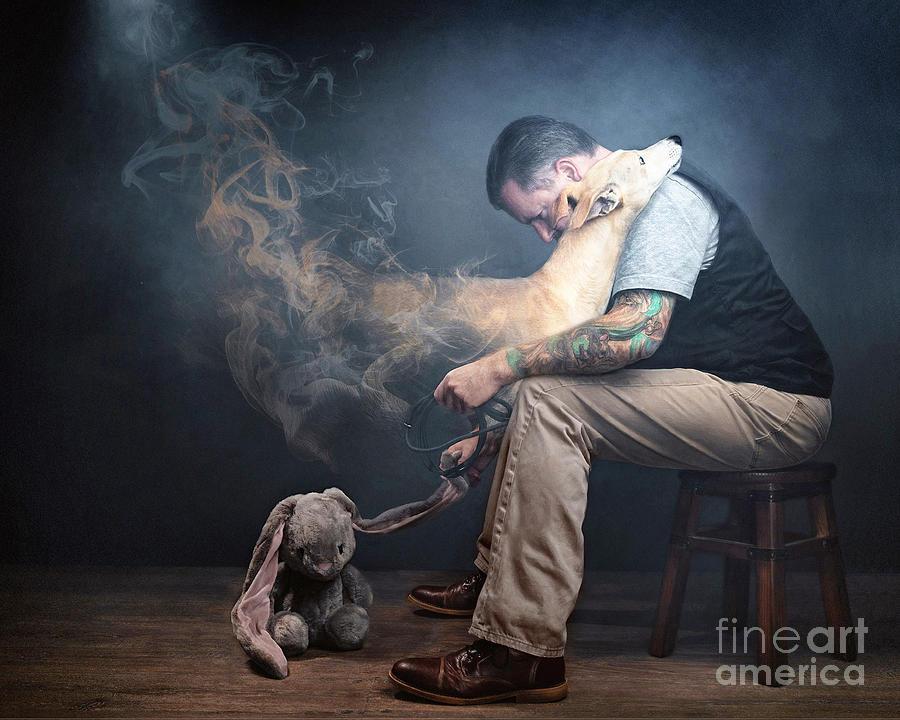 Say Photograph - Man saying Goodbye to his dog by Travis Patenaude