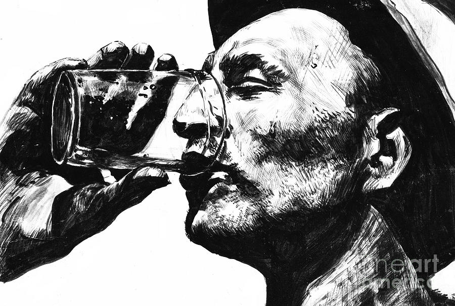 Man With Cold Drink Drawing