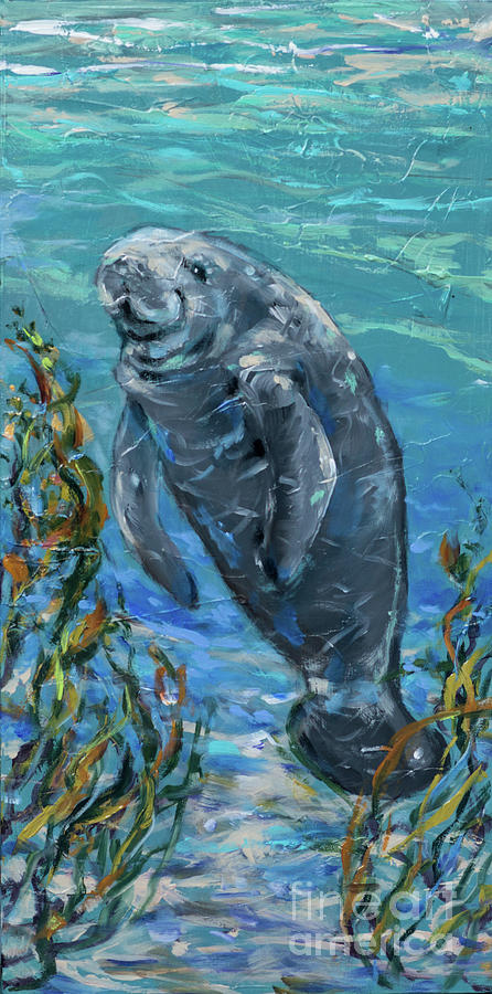 Manatee in the Grass by Linda Olsen
