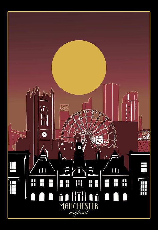 Manchester Skyline Minimal 3 Digital Art By Bekim M