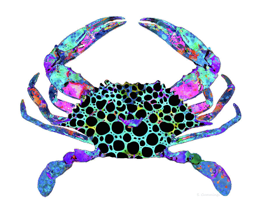 Crab Painting - Mandala Blue Crab - Colorful Beach Art - Sharon Cummings by Sharon Cummings
