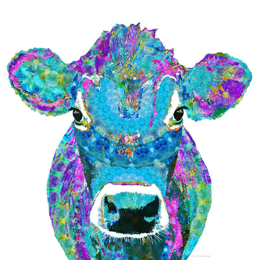 Jersey Cow Painting - Mandala Blue Moo - Jersey Cow Art - Sharon Cummings by Sharon Cummings