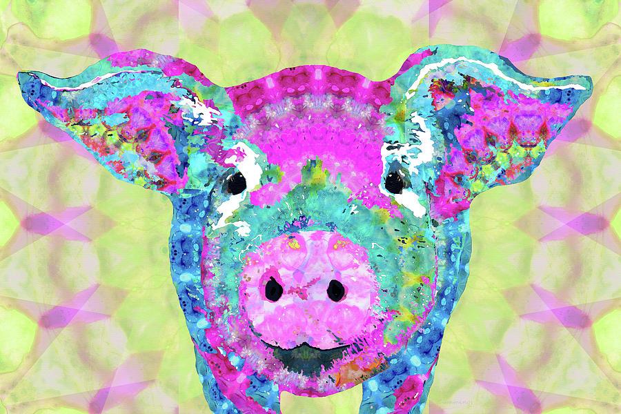 Pig Painting - Mandala Pig Art - Oinkdala - Sharon Cummings by Sharon Cummings