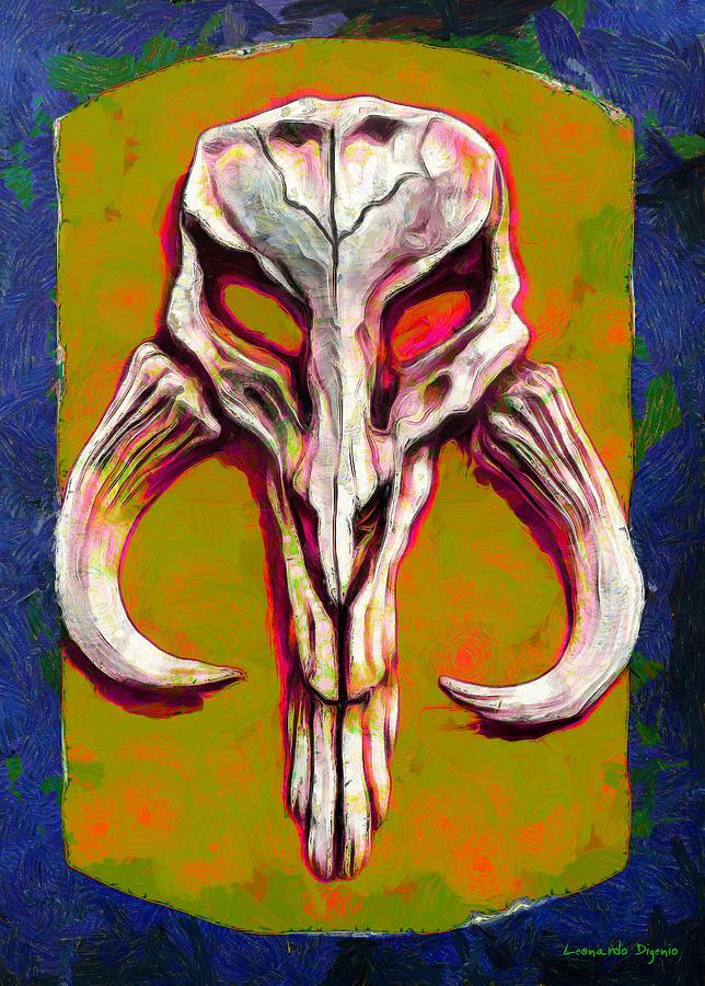 Mandalorian Mythosaur Skull Dark Yellow Van Gogh Style - Pa Painting