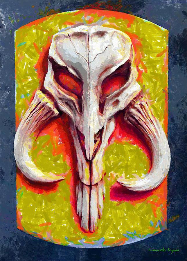 Mandalorian Mythosaur Skull Yellow Free Style - Da Digital Art