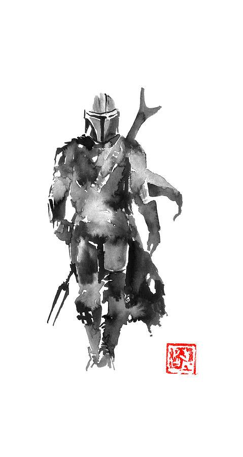 Mandalorian Drawing - Mandalorian by Pechane Sumie