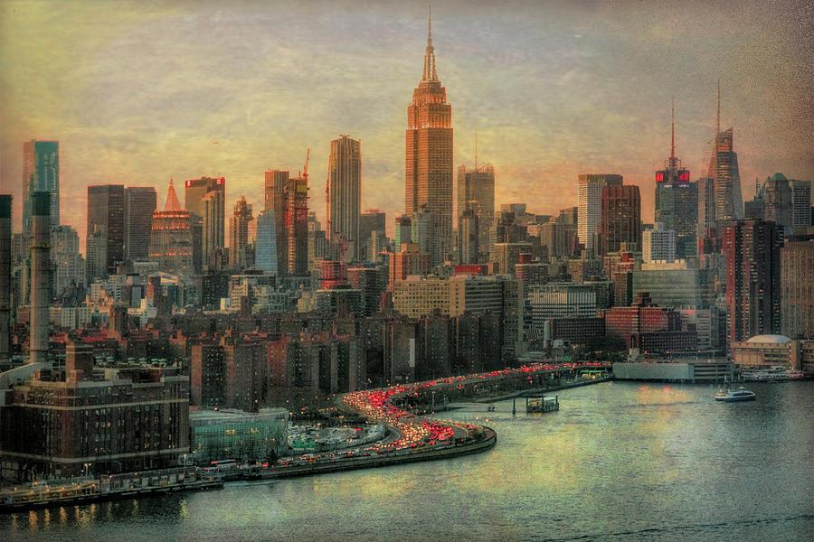 Manhattan Evening Skyline 50's Filter  by Michael Hope