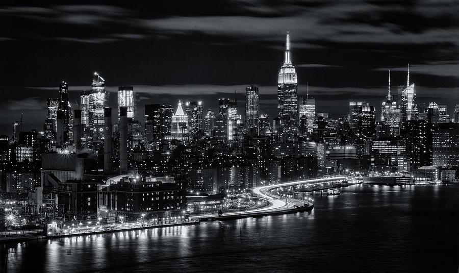 Manhattan Skyline Black and White by Michael Hope