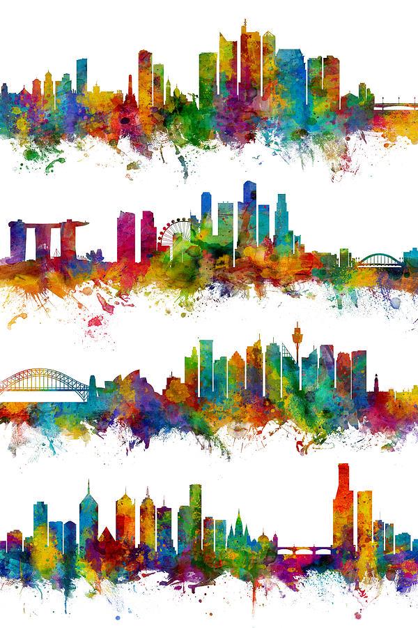 Manila Digital Art - Manila, Singapore, Sydney and Melbourne Skylines by Michael Tompsett