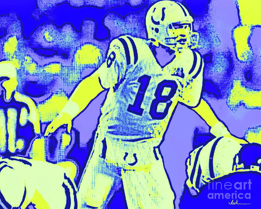 Manning Painting - Manning Colts Super Bowl by Jack Bunds