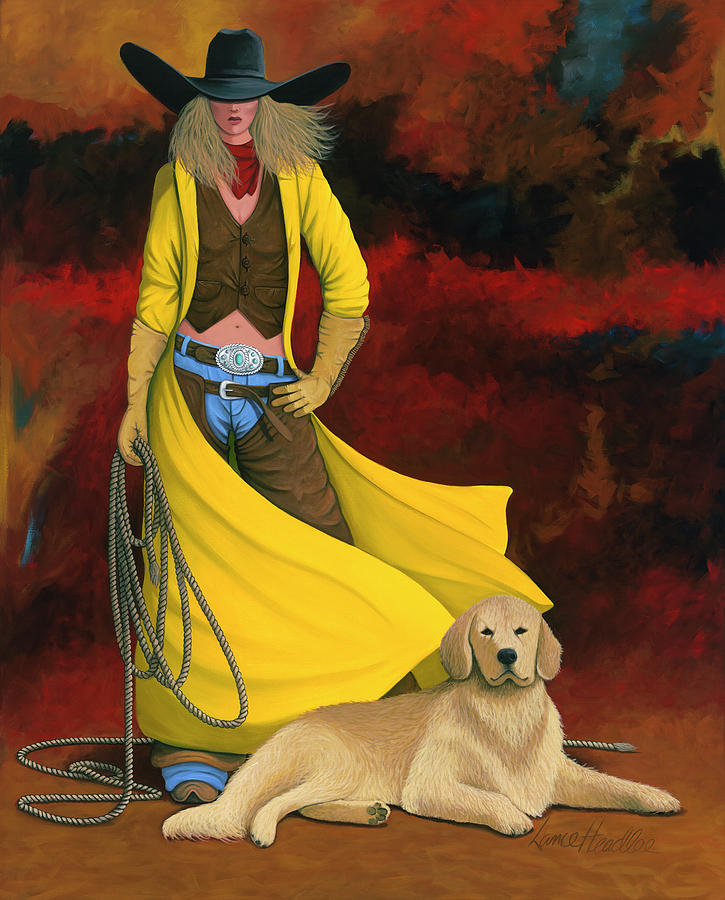 Cowgirl Painting - Mans Best Friend by Lance Headlee