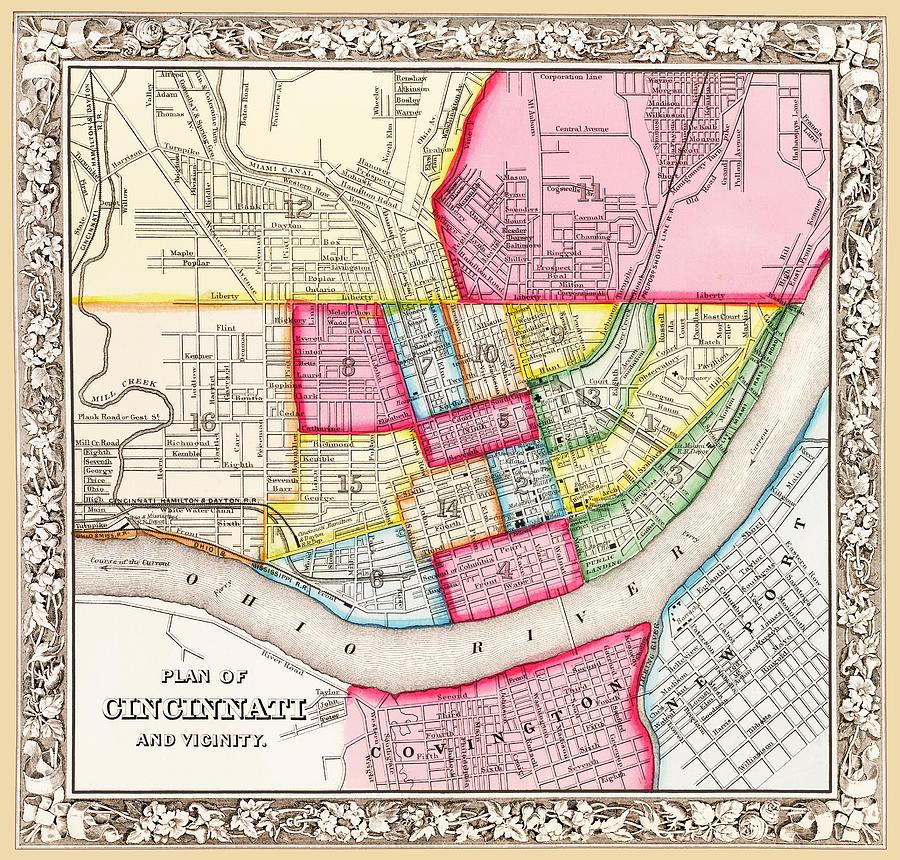 Map of Cincinnati 1863 by Phil Cardamone