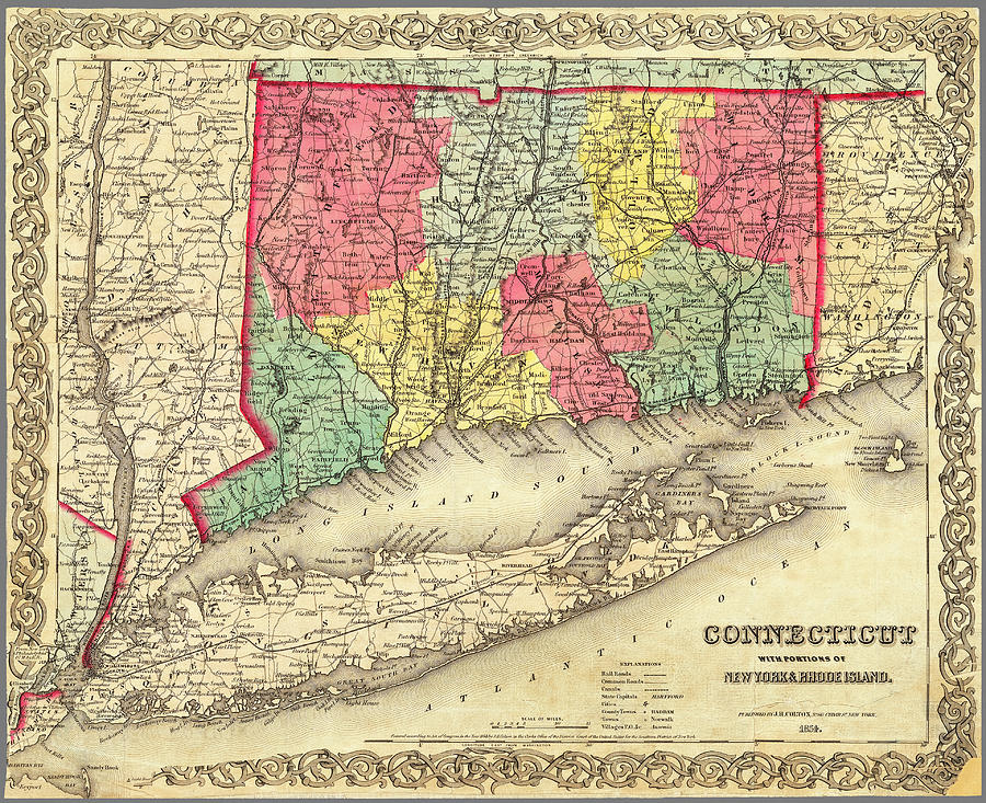 Map of Connecticut with Long Island 1854 by Phil Cardamone