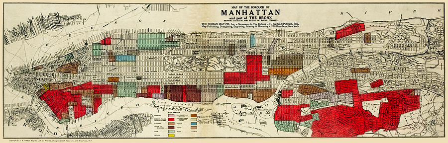 Map of of Manhattan showing ethnic and racial neighborhoods 1920 by Phil Cardamone