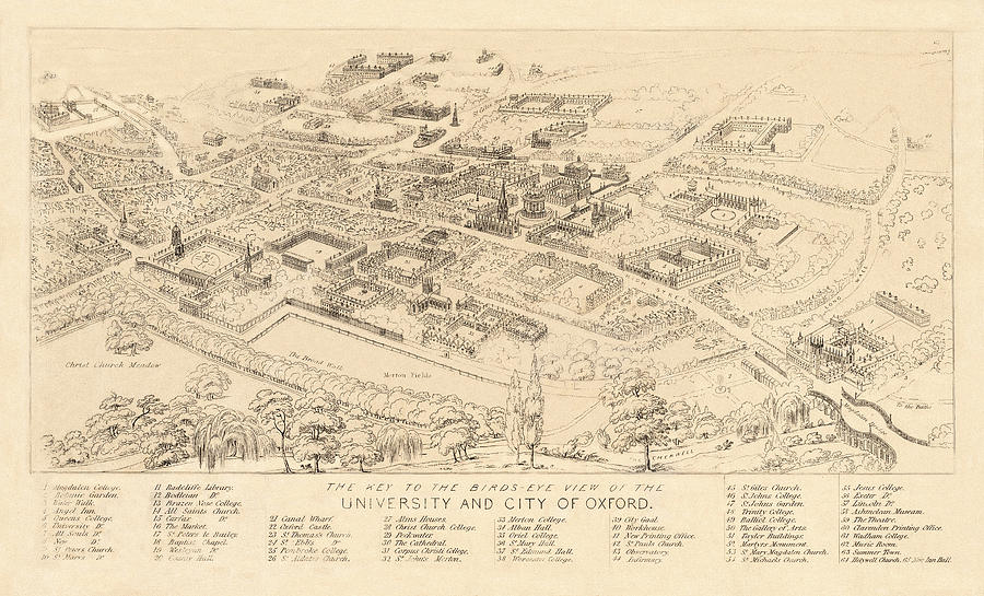 Map Of Oxford 1850 Photograph