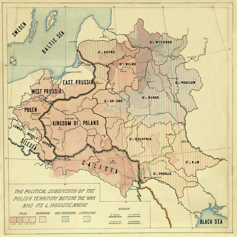 Map Of Poland 1918 Photograph