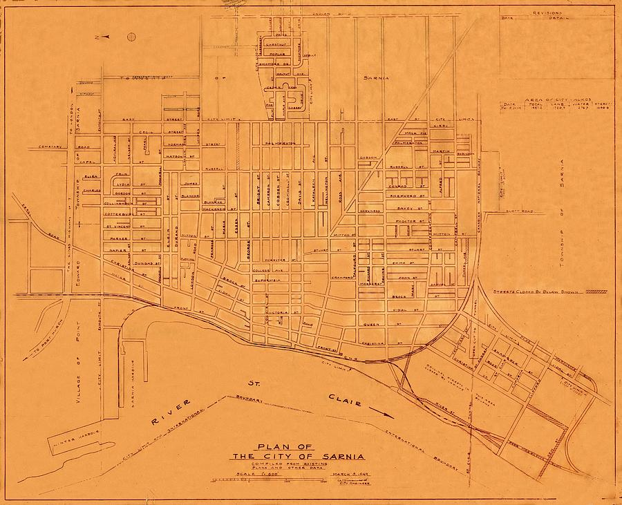 Map Of Sarnia 1949 Photograph