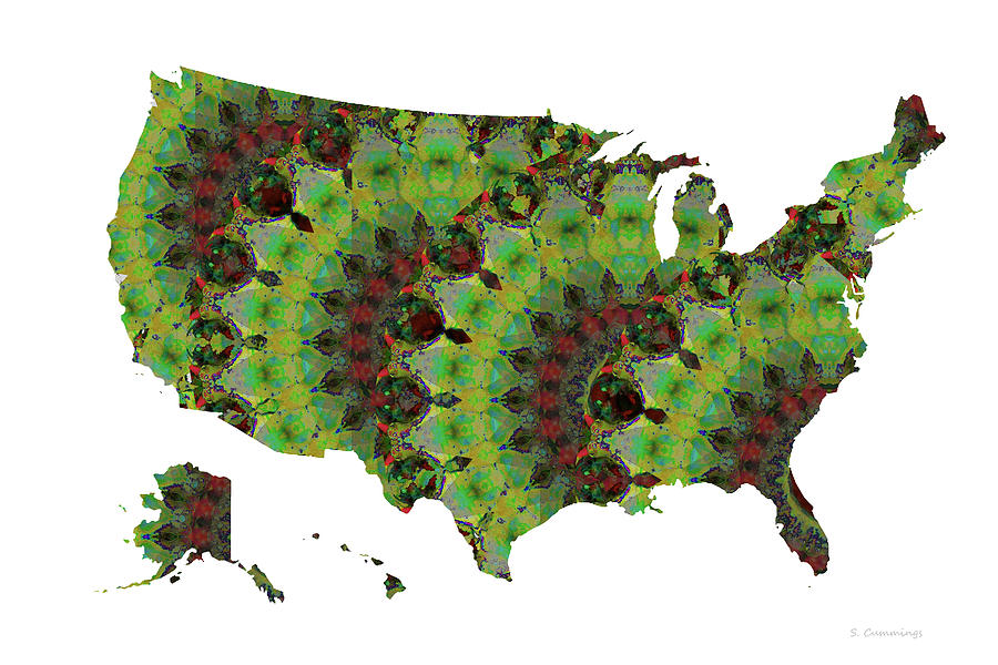 Map Painting - Map of the United States of America 41 - Green Art - Sharon Cummings by Sharon Cummings