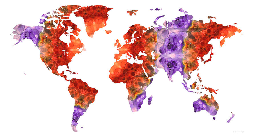 World Map Painting - Map of the World 37 - Red and Purple Art - Sharon Cummings by Sharon Cummings