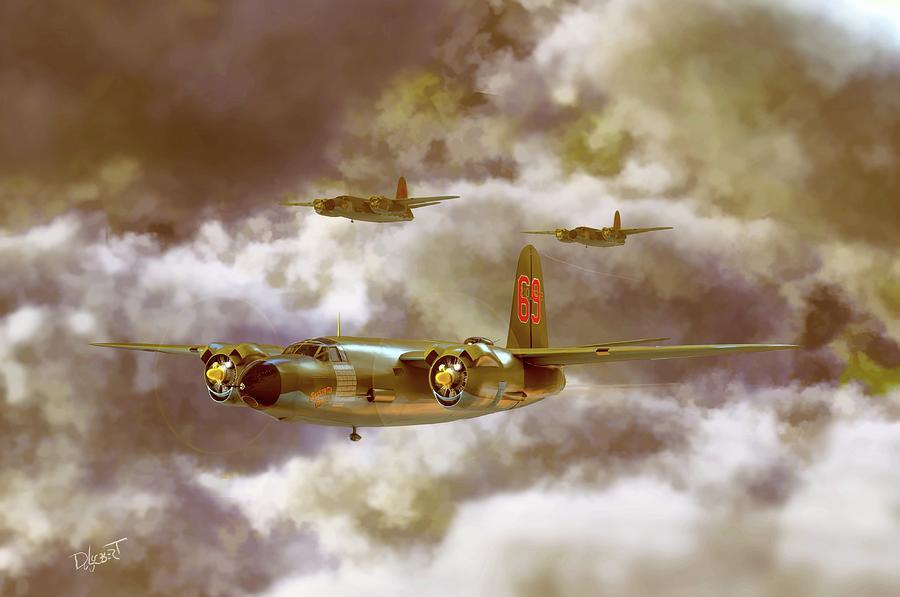 Marauder B-26 Medium Bomber V2 Digital Art