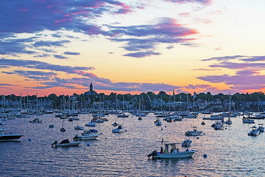 Marblehead MA Sunset over Marblehead Harbor and Abbot Hall by Toby McGuire