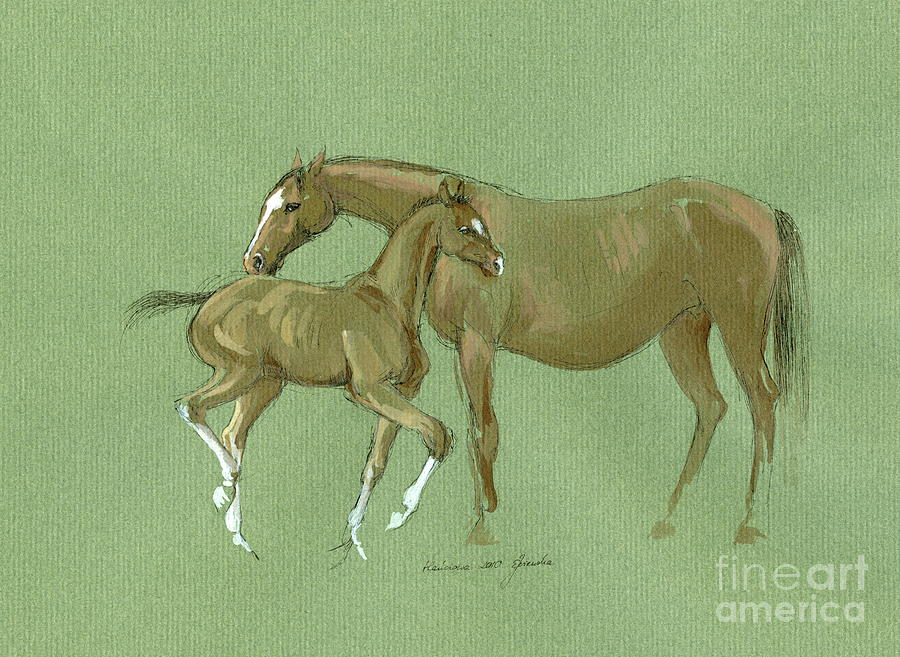 Mare With Foal Painting