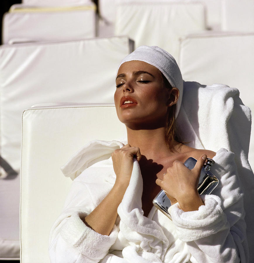 Margaux Hemingway in a Terry Robe Photograph by Francesco Scavullo