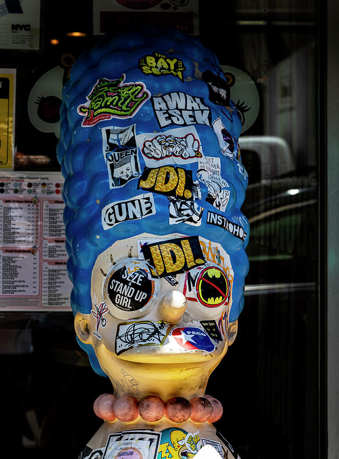 Marge Simpson Mannequin Covered With Stickers Photograph