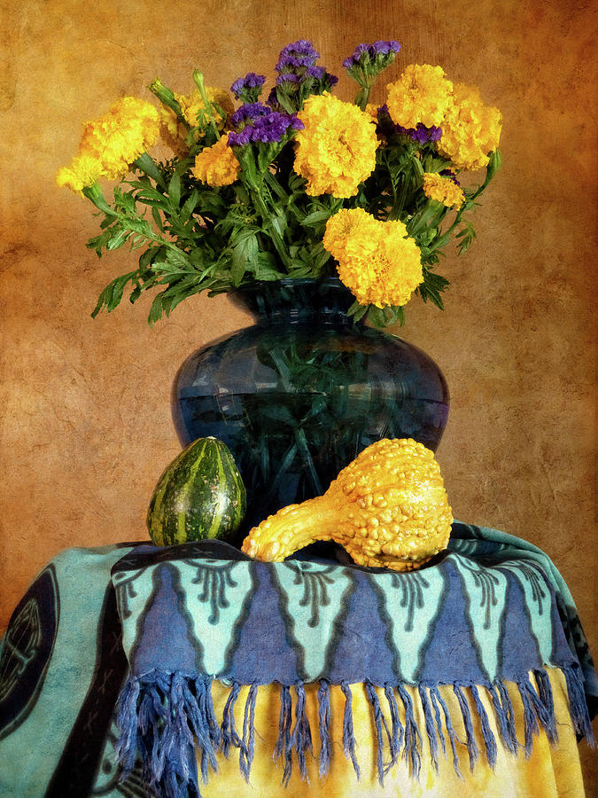 Marigolds and Gourds by Sandra Selle Rodriguez