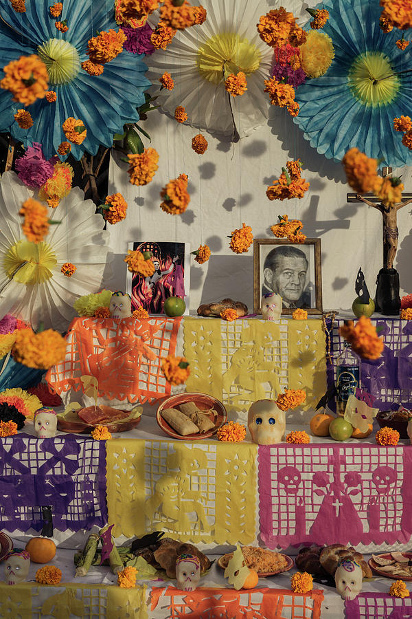 Day Of The Dead Photograph - Marigolds Hanging on Day of the Dead Altar by Dane Strom