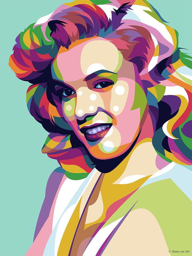 Marilyn Monroe Illustrated Pop Art Mixed Media