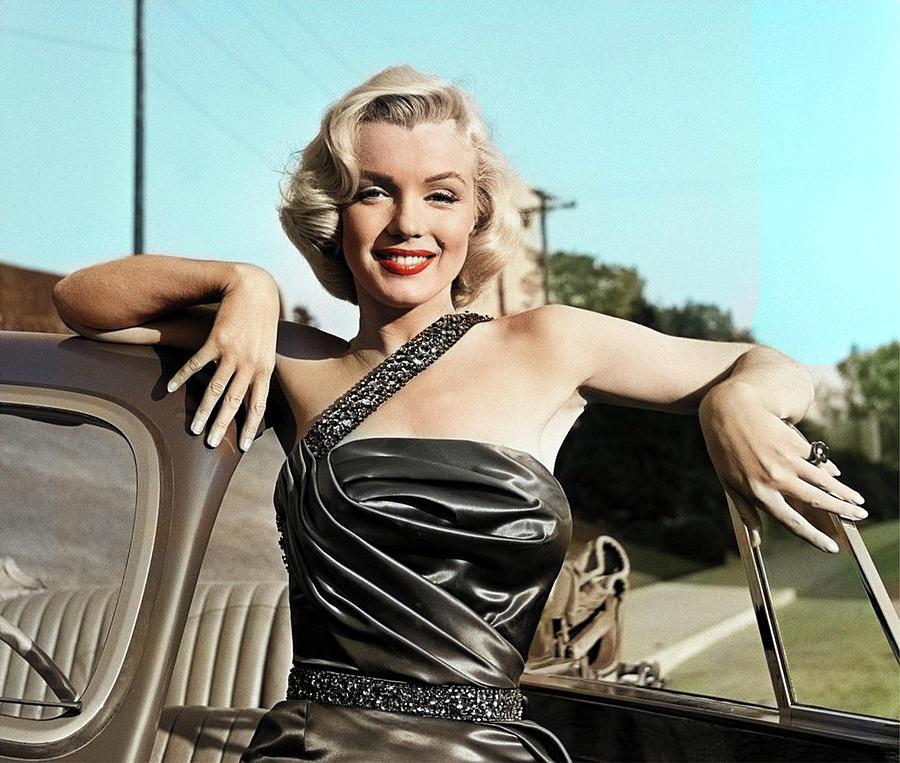 Marilyn Monroe With Car Photograph